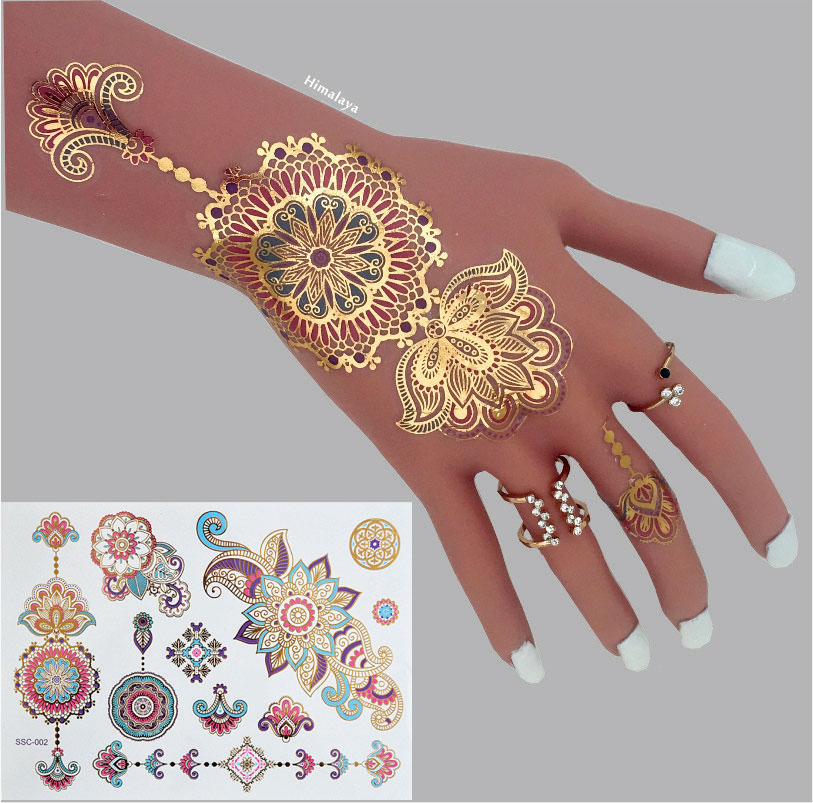 c23 high quality mandala flash tattoos the best selling designs metallic body tattoos in. Black Bedroom Furniture Sets. Home Design Ideas