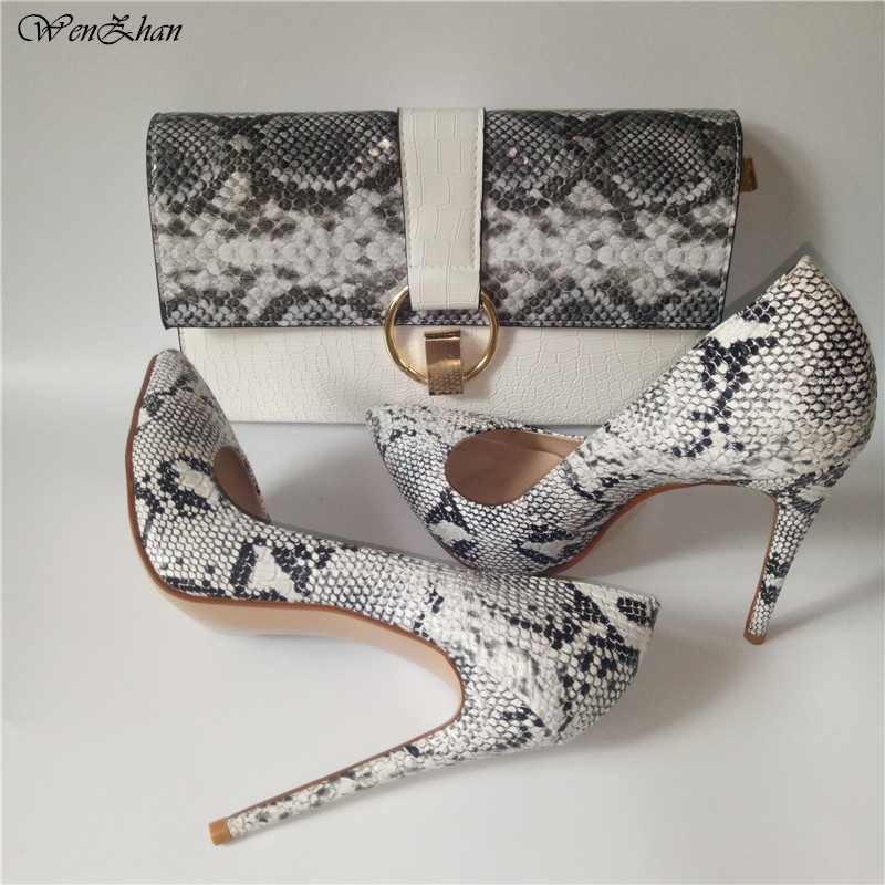 WENZHAN Fashion High Heel Shoes Snake Printed Leather 12cm Women Shoes Pumps With Matching Clutch Bags Sets White Color 36-42