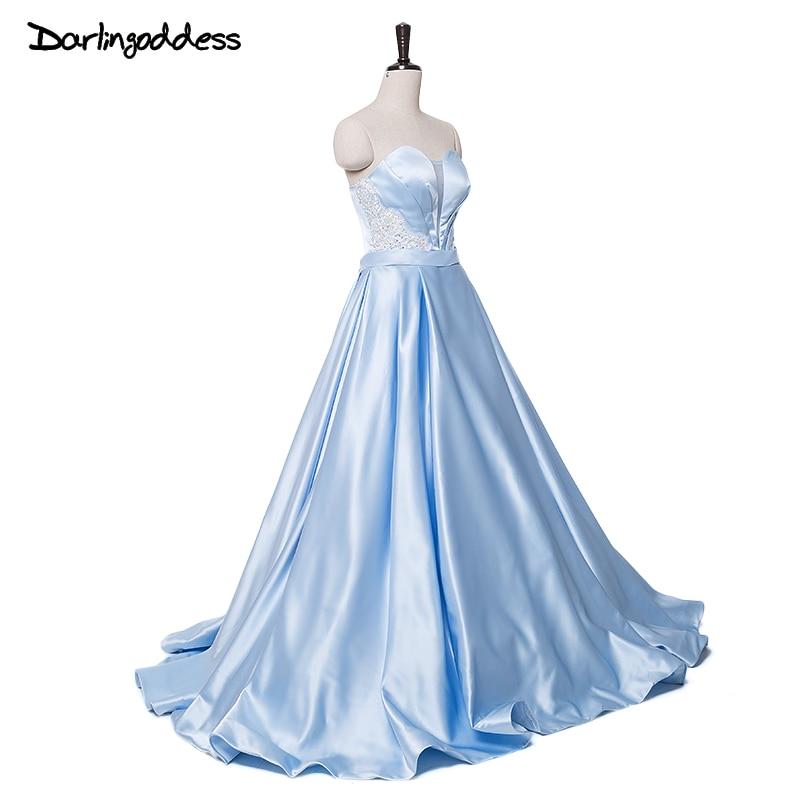 Light Blue Simple Satin Wedding Dresses Lace Princess Sweetheart ...