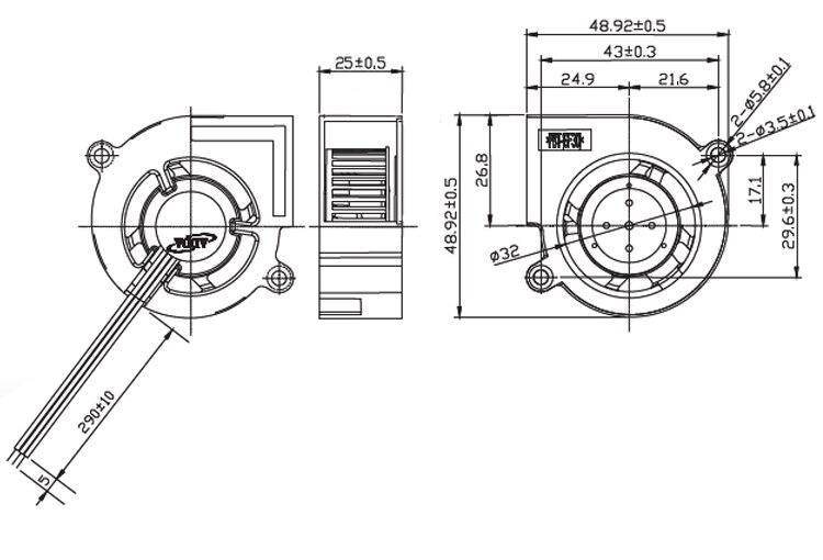 Original ADDA AB7512UB-W03 DC 12V 0.6A Projector Blower Cooling fan