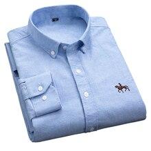 S 6XL בתוספת גודל חדש אוקספורד בד 100% כותנה מעולה נוח slim fit כפתור צווארון עסקי גברים מקרית חולצות חולצות