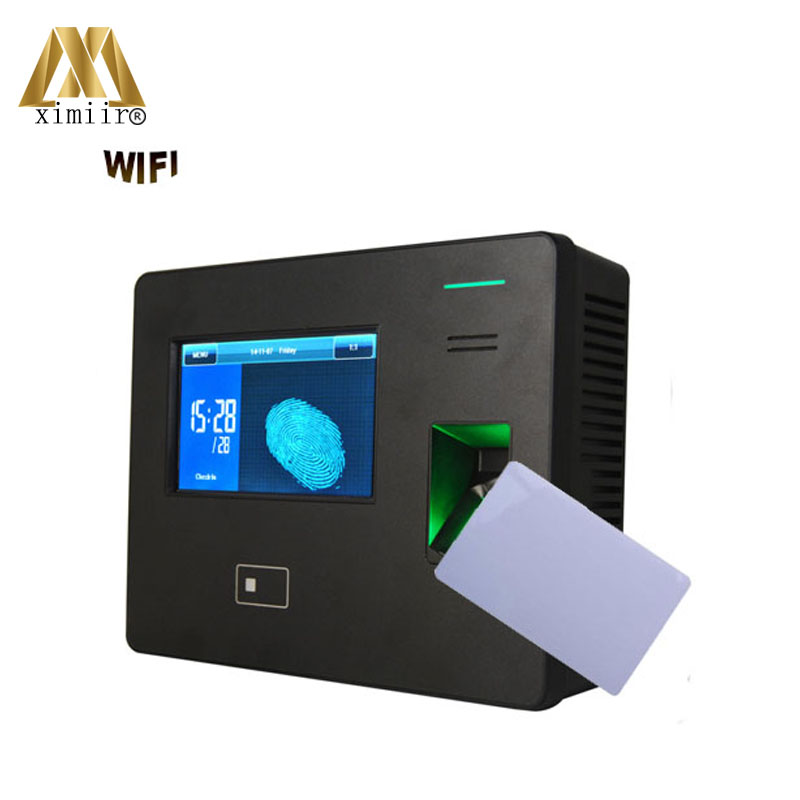 Fingerprint Recognition 13.56mhz MF Smart Proximity Card Time And Attendance Machine WIFI TCP/IP Employee Time Clock System
