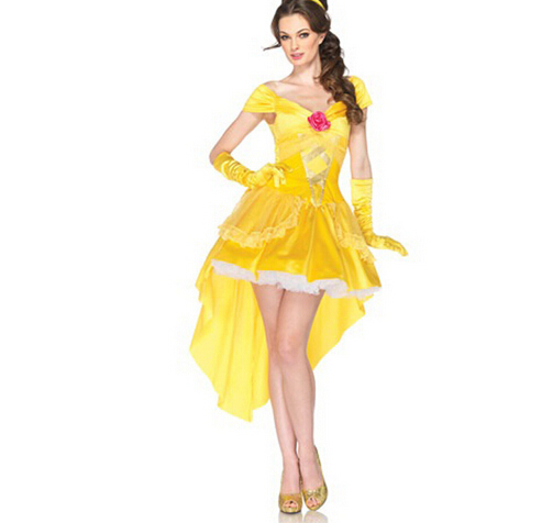 Beauty and the Beast princess belle adult women female Halloween Costumes ashion fancy Costume Suit Fancy Dress Cosplay Costume