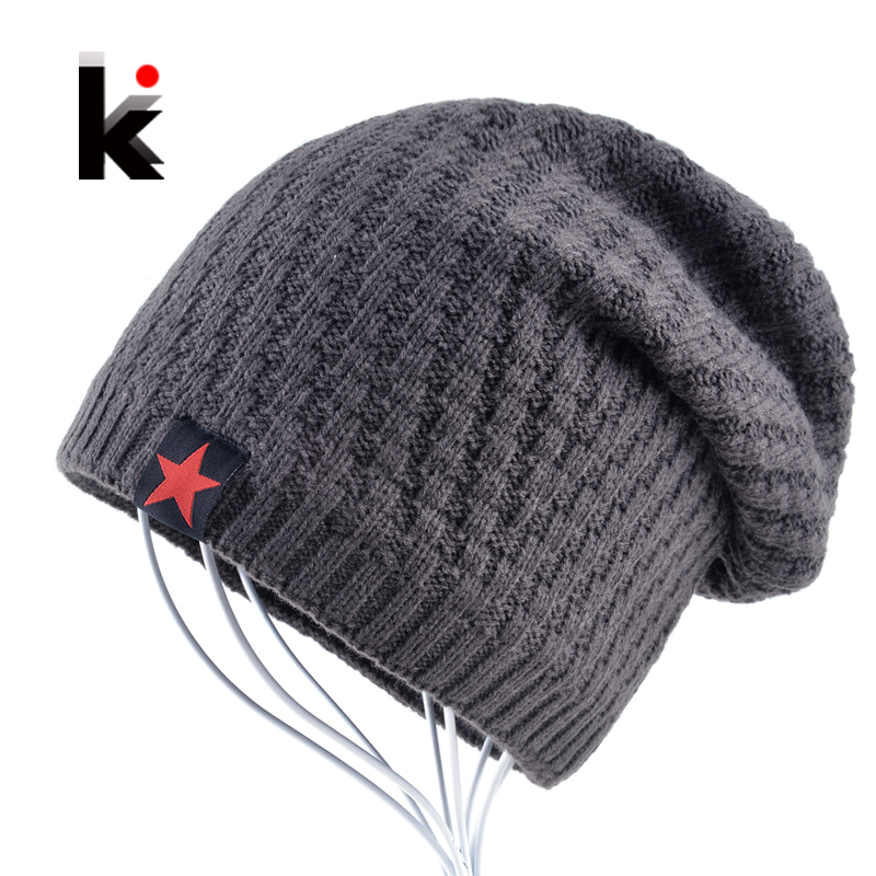 Mens hat winter skullies knitted wool hat plus velvet five-pointed star hip hop cap thicker bonnet beanies for men touca hip hop beanie hat baggy unisex cap thick warm knitted hats for women men bonnet homme femme winter cap plus velvet beanies