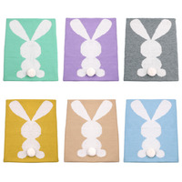 Kids 100 Organic Cotton Knitted Blanket Cartoon Rabbit Summer Winter Warm Comfortable Blankets For Baby Children