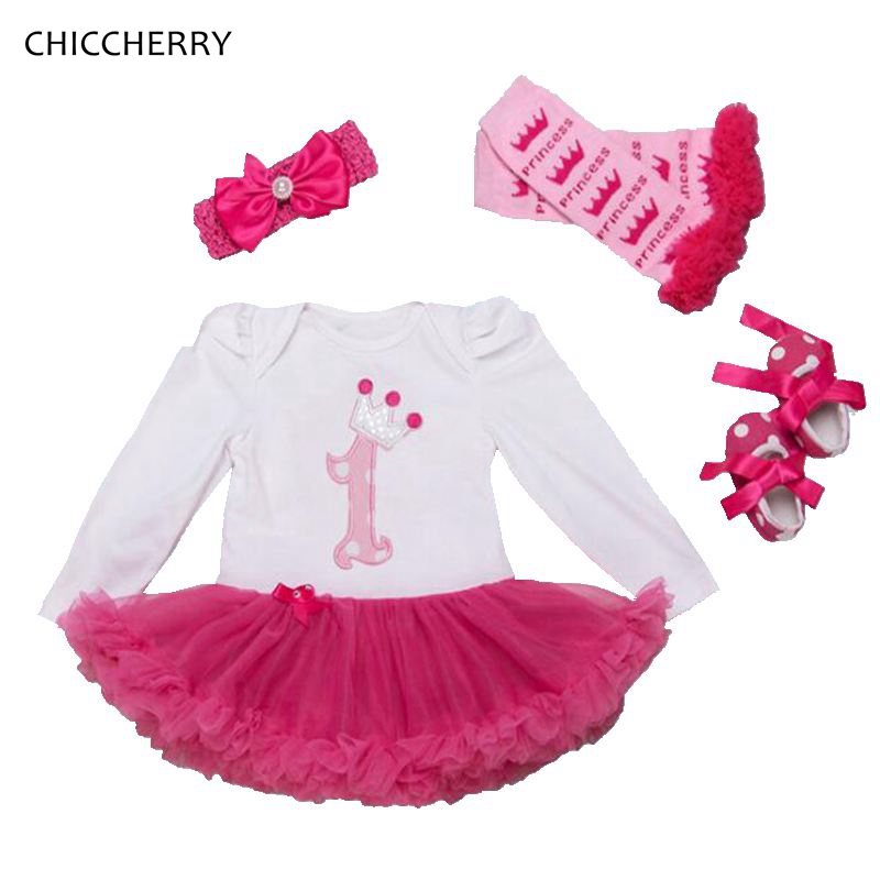 Crown 1 Year Birthday Dress 4pcs Princess Baby Girl Lace Dresses Headband Legwarmers & Shoes Vestido Fiesta Bebe Infant Clothes crown princess 1 year girl birthday dress headband infant lace tutu set toddler party outfits vestido cotton baby girl clothes