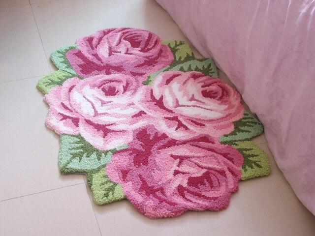 110*70 CM Date De Luxe De Mariage Tapis Quatre Rose Chambre Carpet Durable Canapé Tapis Faits À La Main