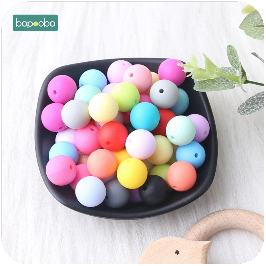 Bopoobo Baby Care Teether Candy Colors 12mm 50pc Silicone Beads Sensory Chewing Toy DIY Jewelry Nursing Accessories Baby Teether