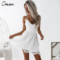 CWLSP Women Lace Backless Dresses Sexy Back Cross Lace Up Hollow Out Clubwear Dress Vestidos De
