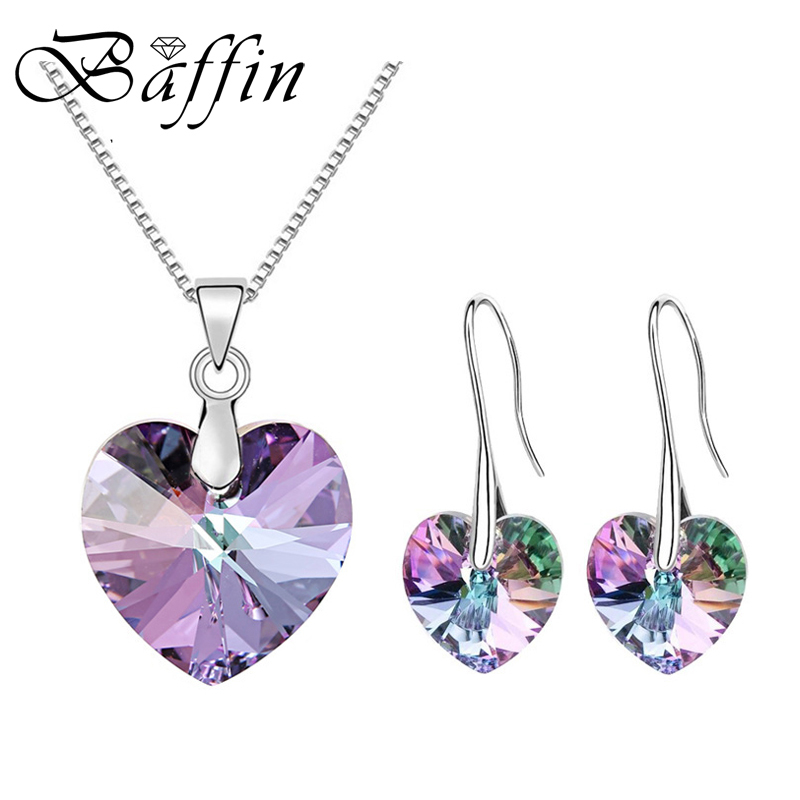 купить BAFFIN Original Crystals From Swarovski Heart Pendant Necklaces Drop Earrings Jewelry Sets For Women Lovers Gift Drop Shipping по цене 551.46 рублей