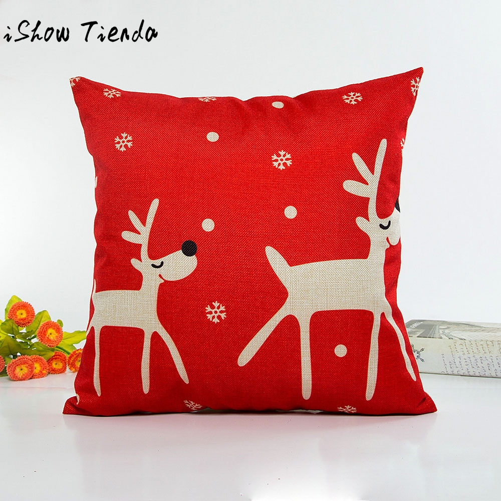 Christmas Deer Pajamas Lovely Pillow Case Sofa Waist Throw Cushion Cover Home Decor Fronha Travesseiro