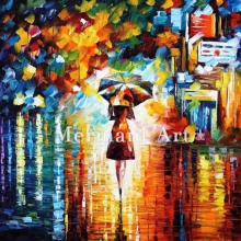 Hand Painted Rain Princess Landscape Abstract Palette Knife Modern Oil Painting Canvas Wall Living Room Artwork Fine Art