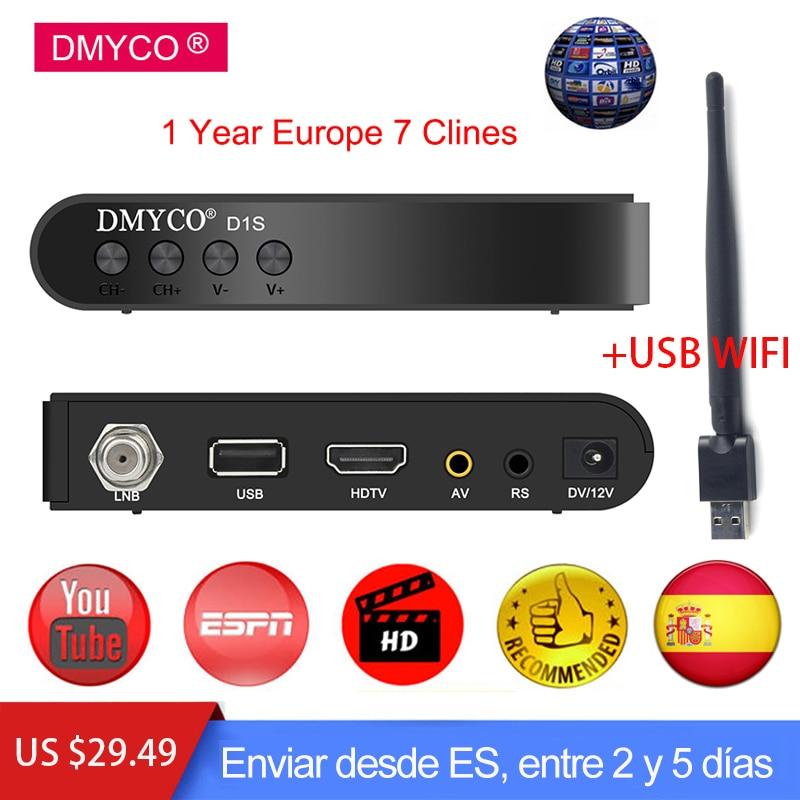 US $19 7 30% OFF|DMYCO Digital Satellite Receiver HD DVB S2 LNB Full 1080P  Biss Key Youporn +1 Year Europe Spain Portugal clines Server Receptor-in