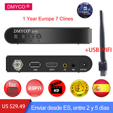 DMYCO Digital Satellite Receiver HD DVB-S2 LNB Full 1080P Biss Key Youporn +1 Year Europe Spain Portugal clines Server Receptor