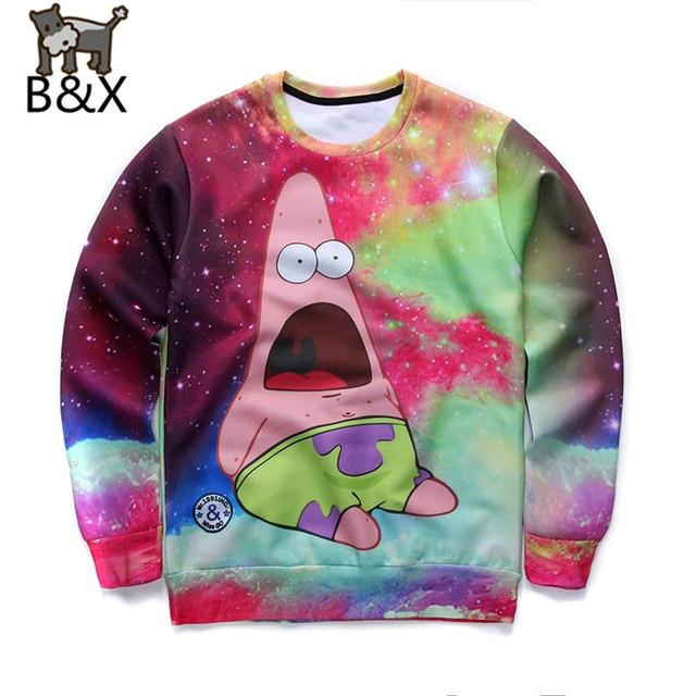Fashion Men Harajuku sweatshirts print adventure time cartoon hoodie crewneck 3d galaxy sweatshirt hoodies tops