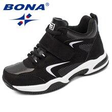 BONA ใหม่มาถึงคลาสสิกสไตล์เด็กสบายๆรองเท้าสังเคราะห์รองเท้าผ้าใบรองเท้า Hook & Loop Boys Loafers จัดส่งฟรี