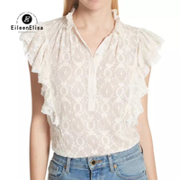White Sleeveless Blouse Women Summer Blouses 2018 Womens Fashion Ruffles Tops Elegant