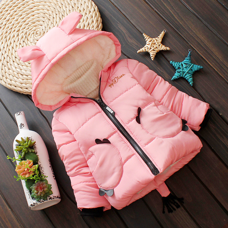 Warm Winter Children Baby Girls Infant Hooded Velvet Thicken Snow Wear Parkas Princess Jacket Coat Cardigan Outwear Casaco S7469