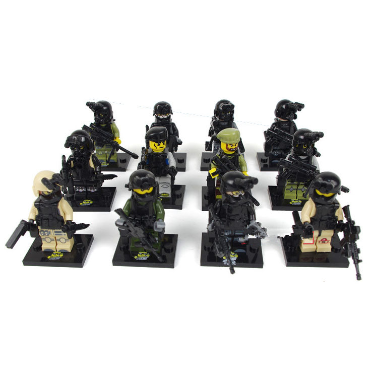 Bainily12pcs-With-Many-Weapons-World-War-Ghost-Assault-Military-Soldier-Compatible-Legoe-Weapon-Model-Building-Block-Bricks-2