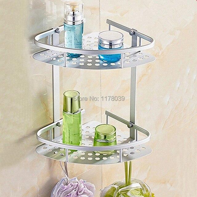 Esquina de aluminio espacio baño estanterías, nivel Doble Estantes ...