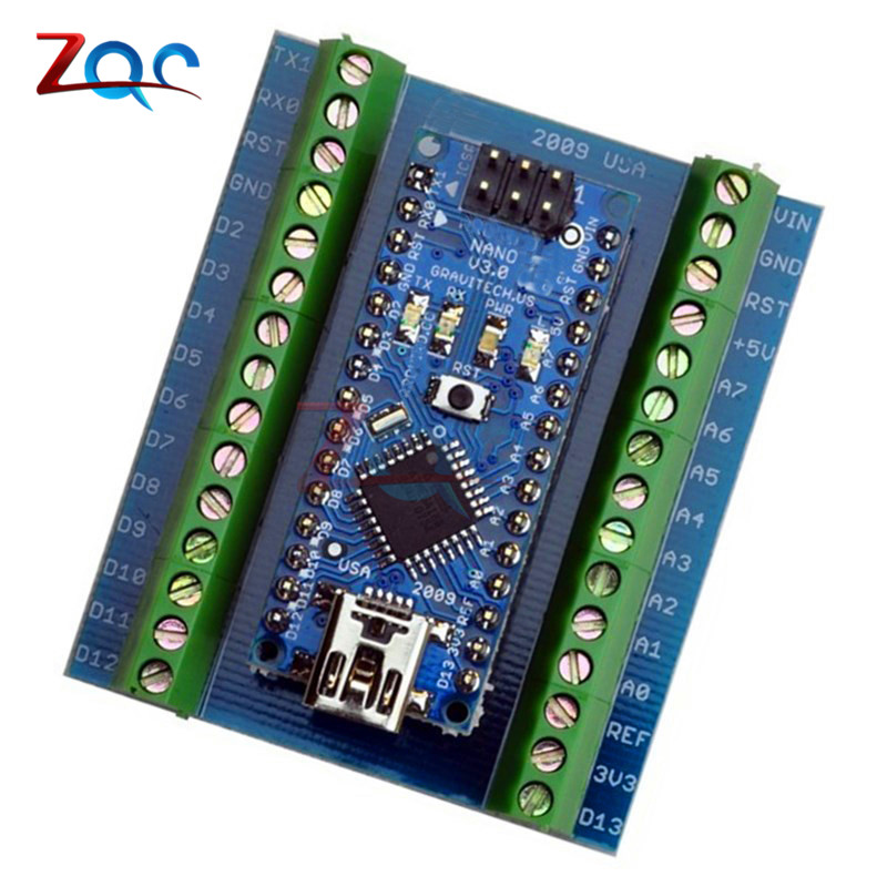 1Pcs Standard Terminal Adapter Board for Arduino Nano V3.0 AVR ATMEGA328P ATMEGA328P-AU Module 100% Original nano uno shield adapter nano development board for arduino