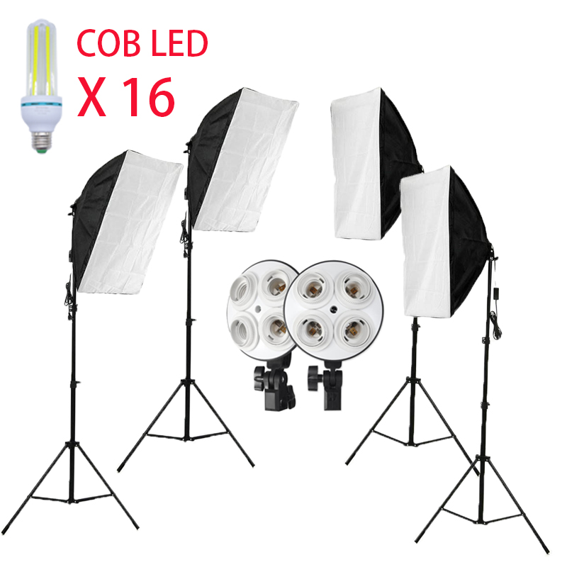 Deventer Photo studio 320W 16 COB LED Photographic lighting Kit 4 set Softbox and 4 set light stand Camera Photo Accessories