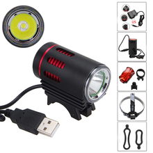 Black 3000 LM USB XM-L T6 LED Bike Bicycle Light Waterproof Headlight Lamp Torch with 18650 Battery AC Charger taillight