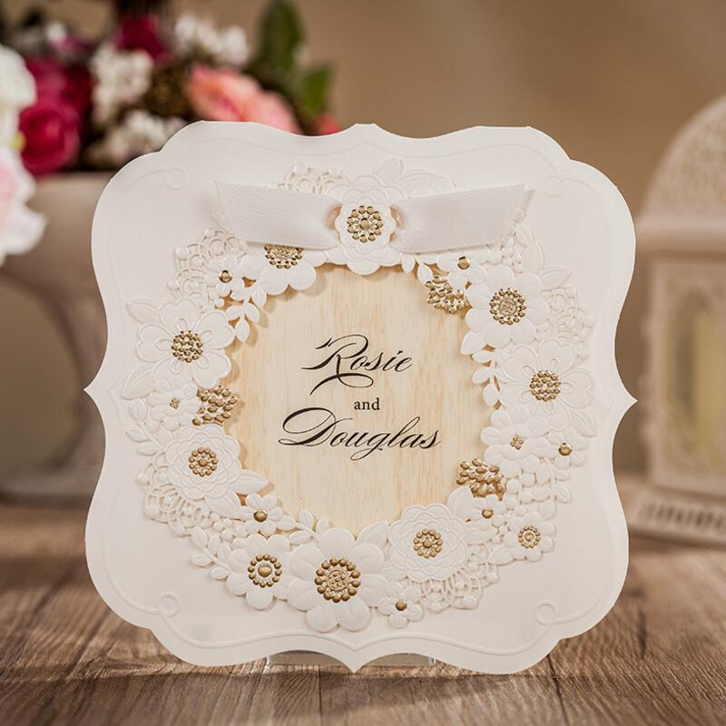 50pcs/pack New Handmade Flower Laser Cutting Wedding Invitation with RSVP Card for Greeting Birthday Marriage Engagement global elementary coursebook with eworkbook pack