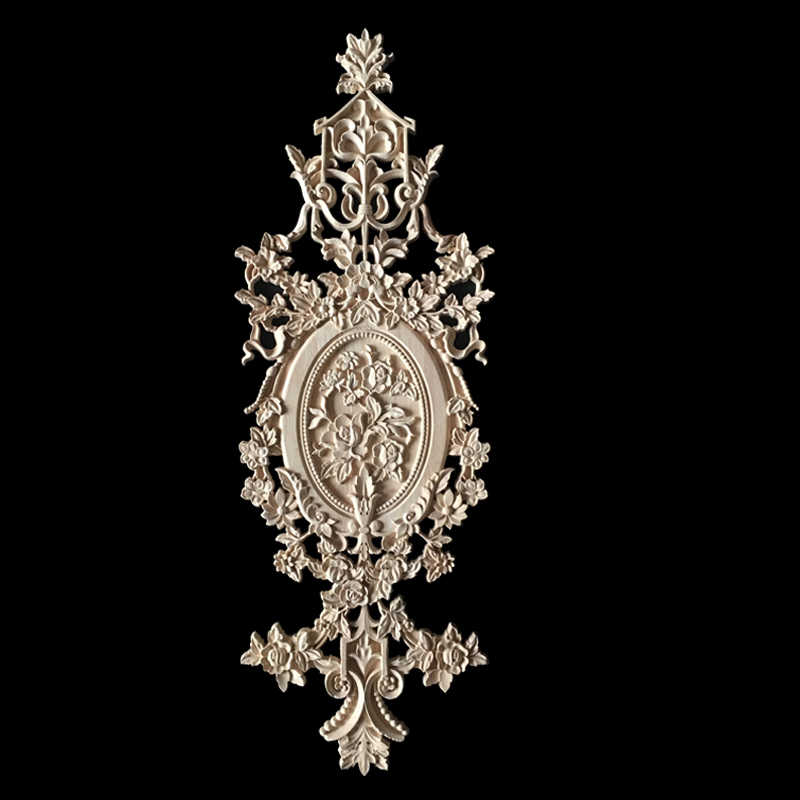 Flower Carving Natural Wood Appliques for Furniture Cabinet Unpainted Wooden Mouldings Decal Decorative Figurine Large Size 72CM