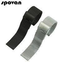 SPOVAN Stainless Steel Watch Bands Strap For Sports Watch 22mm 24mm Milanese Loop Watchbands Black Silvery
