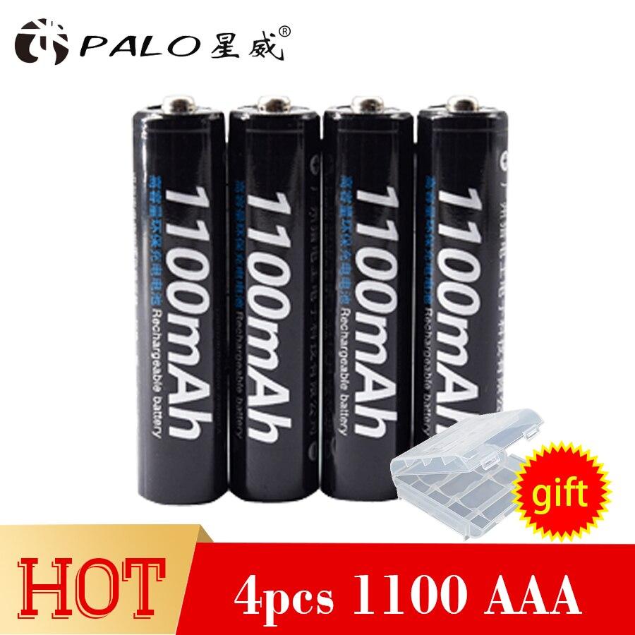 PALO 100% original 4 unids/lote 1100 V AAA 1800 mAh Ni-MH batería recargable con 1,2 baterías recargables de ciclo para micrófono