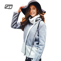 Fitaylor Women Shearling Suede Jackets Wool Lambs Winter Cuir Pu Leather Jacket Female Coat Short Motorcycle