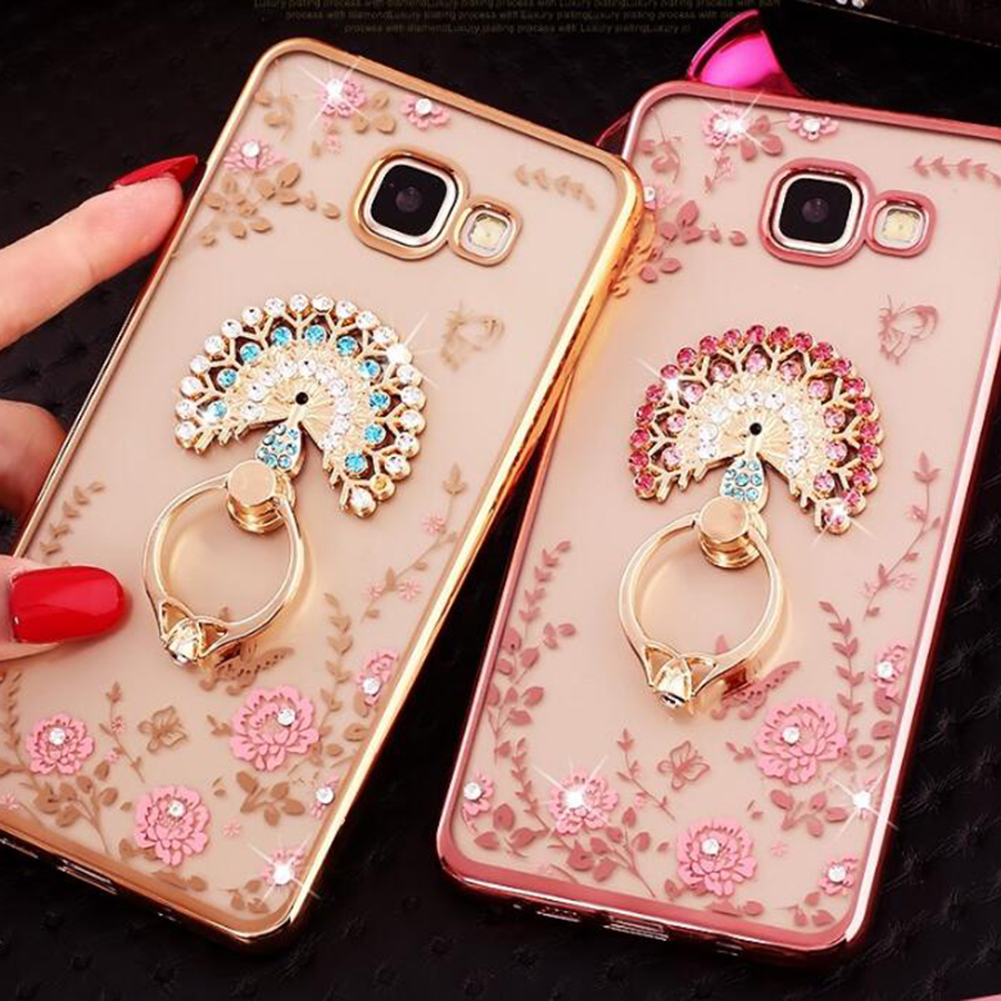 Luxury Bling Diamond Ring Holder Soft Cases For Samsung Galaxy S8 S7 S6 Edge Plus A3 A5 A7 2017 Fundas Protect Phone Back Cover in Fitted Cases from Cellphones Telecommunications