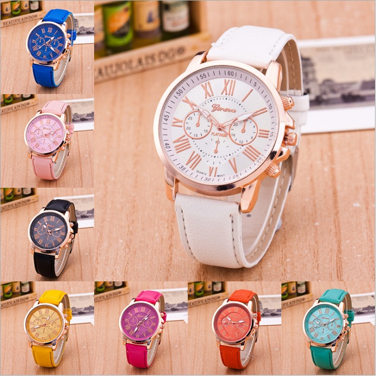 Geneva Luxury Brand Women Casual Watch Leather Brand Roman Numerals Big Dial Hour Analog Quartz Wrist Watches relogio masculino hot luxury brand geneva fashion men women ladies watches gold stailess steel numerals analog quartz wrist watch for men women