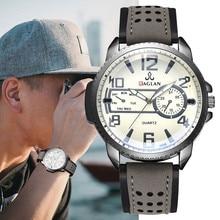 Men Watch Quartz High Quality Leather Blu Ray Glass Clock Watch Mens