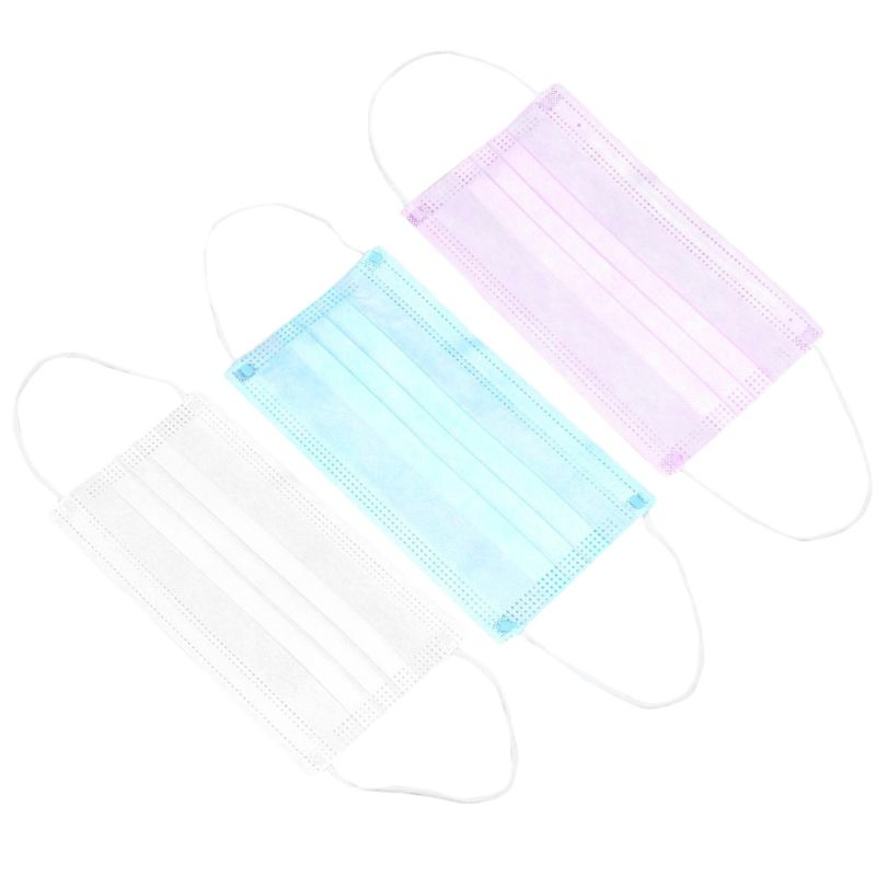 10 Pcs Unisex Disposable Half Face Mouth Mask 3 Layers Non-Woven Earloop Protective Cover Filter 3 Colors