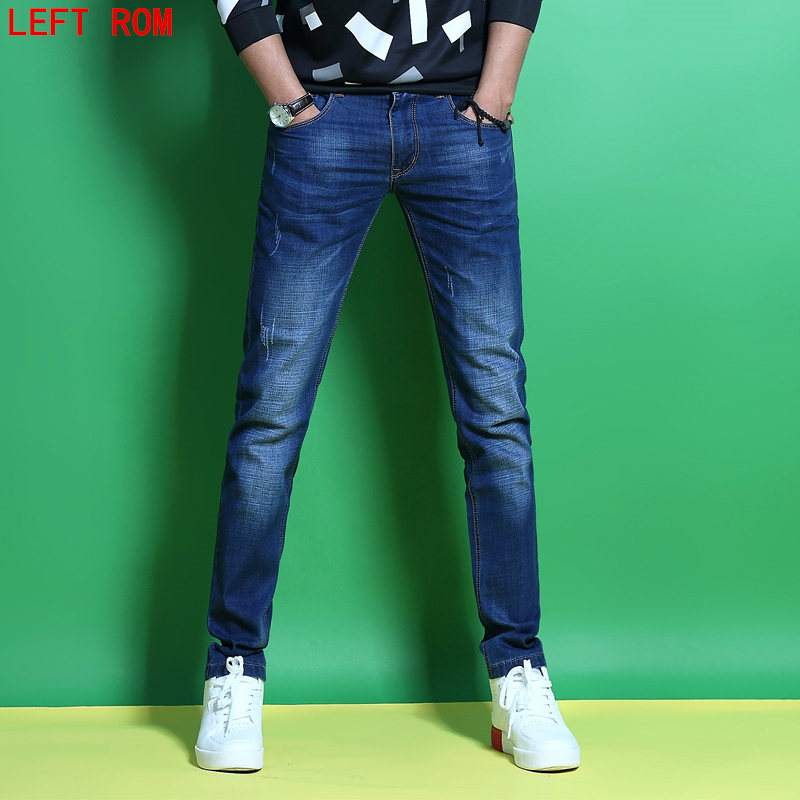 2017 Spring Summer New Stretch Cotton Breathable And Comfortable Jeans Fashion Casual Mens Lightweight Slim Trousers Wholesale