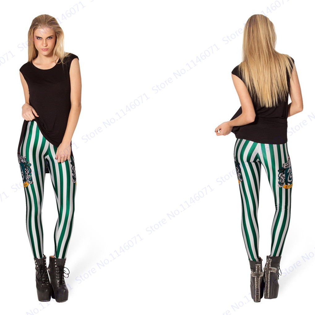 940aaf58c6d84 Slytherin Snake Pencil Pants Green White Stripes Yoga Skinny Tights Zebra  Women Jeggings Leisure High Waist Slim Leggings