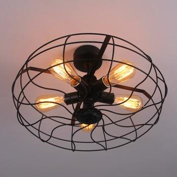 5 Teste Di E27 Base Materiale Di Ferro Vintage Retro Industriale Ventilatore A Soffitto Luci Paese Americano Lampada Loft Lampada Da Cucina Per Loft Decorazione