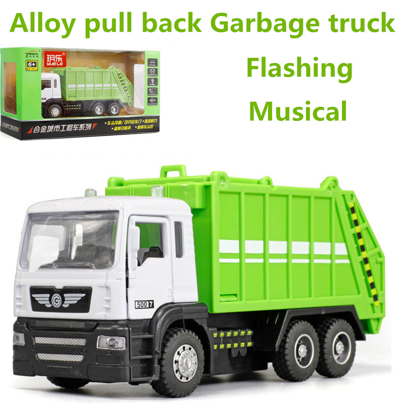 High simulation Garbage truck <font><b>model</b></font>,1: 43 scale alloy pull back toy <font><b>cars</b></font>, flashing & musical,diecasts & toy vehicl,free shpping image