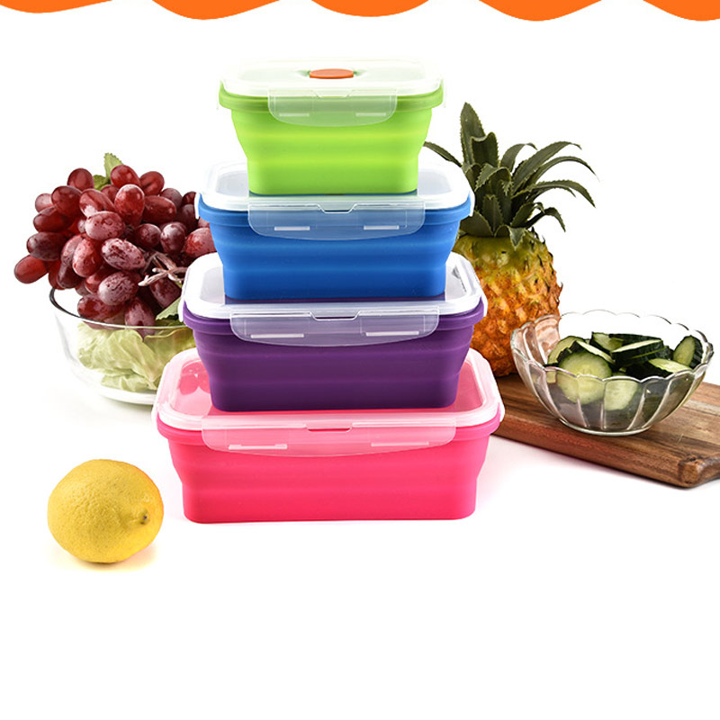 350/500/800/1200 ml Foldable Silicone School Lunch Boxes Outdoor Sports Camping Picnic Food Container Tableware acampamento image