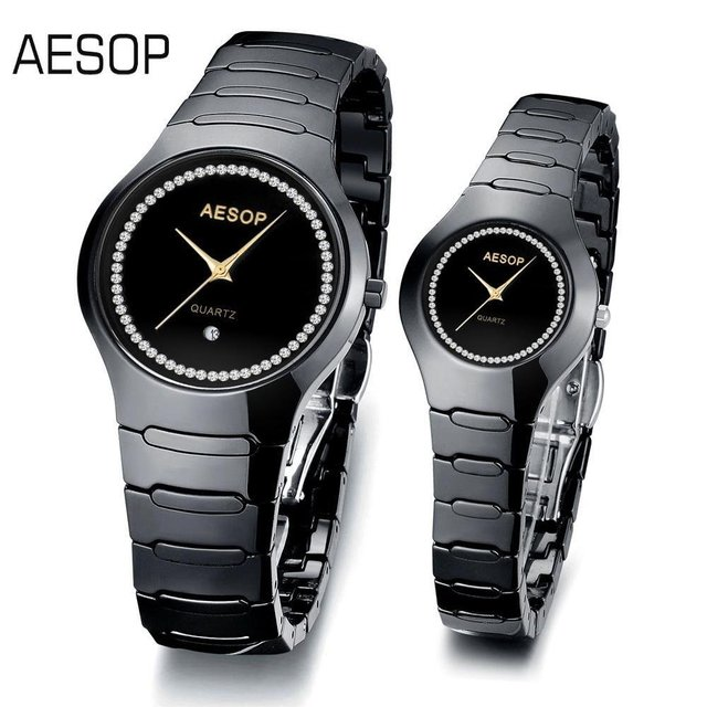 AESOP Fashion Ceramic Watch for lovers Sapphire Quartz  Couples Watches indaid diamond CZ. Dial 9901