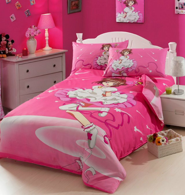 Girl bedding Hanna Montana Ever changing sakura Bedding Set 100cotton  children duvet covers for girls twin. Hannah Montana Bedroom Set