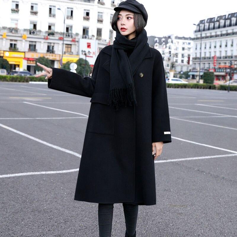 Manteau Hiver Grande Automne Femelle Laine Solide Rue De blue Long 2018 Mode Taille Nouvelle Couleur Lâche Stand coréen Black Femmes Lq575 rAXZqrwn