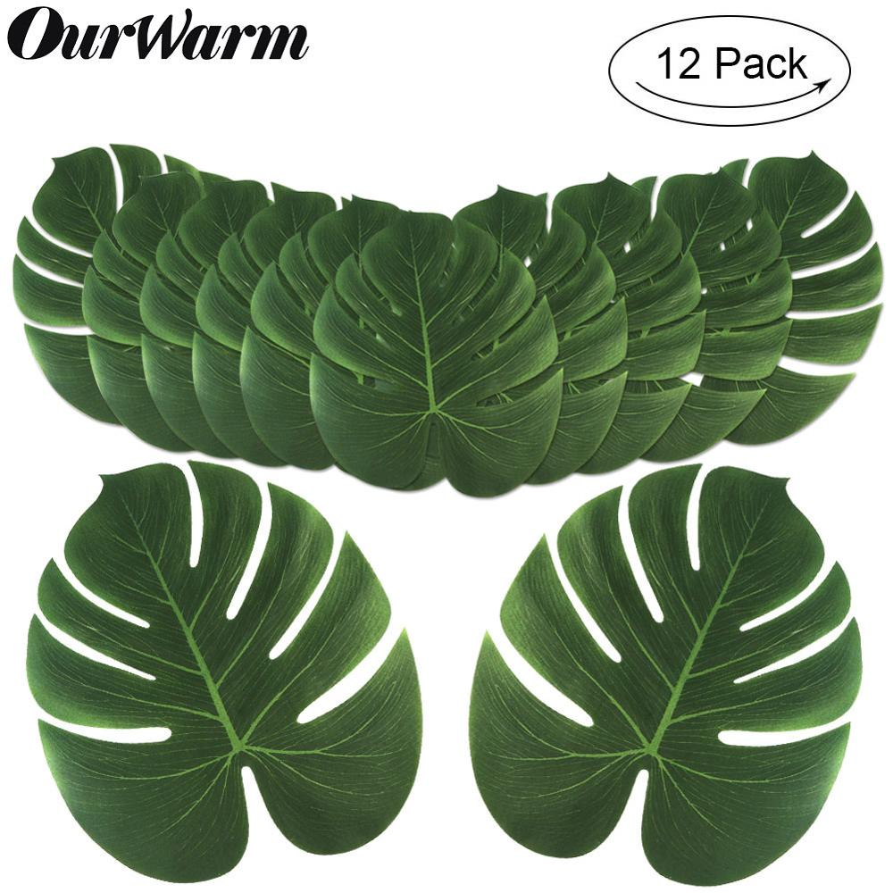 OurWarm 12Pcs Artificial Tropical Palm Leaves For Hawaiian Luau Beach Theme Party Decorations Jungle Party Fake Monstera Leaves