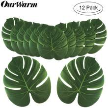 OurWarm 12Pcs Artificial Tropical Palm Leaves for Hawaiian Luau Beach Theme Party Decorations Jungle Party Fake Monstera Leaves(China)