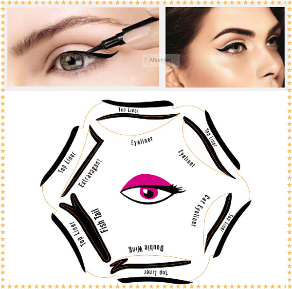 1pc Super style eyeliner stencil kit 6 model for eyebrows template the eye makeup a guide diy card