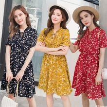 55e38dde771 14 цветов красивые 2018 новые летние модные женские туфли шифоновое платье  трапециевидной формы Цветочный принт короткий