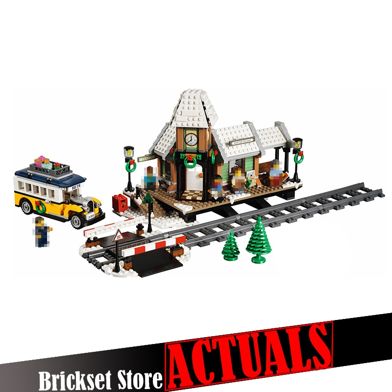 1010Pcs Lepin 36011 Creator Series Winter Village Station Building Blocks Bricks Toy for children Christmas Gift 10259 brinquedo lepin 36011 creative series 1010pcs legoinglys village station model sets building nano block bricks toys diy for boy girls