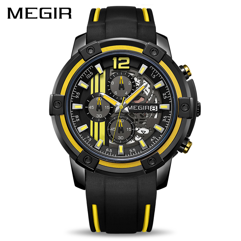 MEGIR Big Dial Quartz Men Watches With Chronograph Silicone Military Sport Watch Men Relogio Masculino Fashion Wristwatches